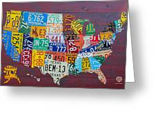 License Plate Map Of The United States Greeting Card