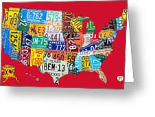 License Plate Map Of The United States On Bright Red Greeting Card