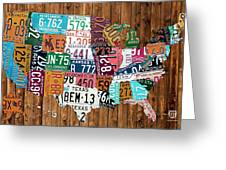 License Plate Map Of The United States - Warm Colors On Pine Board Greeting Card by Design Turnpike