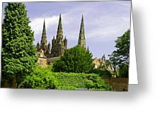 Lichfield Cathedral From The Garden Greeting Card