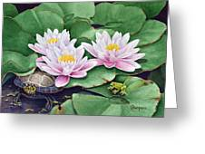 Life Among The Lillie Pads Greeting Card