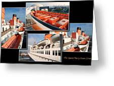 Life Boats Collage Queen Mary Ocean Liner Long Beach Ca Greeting Card