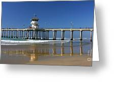 Life Guard Station Reflection On Ocean Sand At Huntington Beach City Pier Fine Art Photography Print Greeting Card