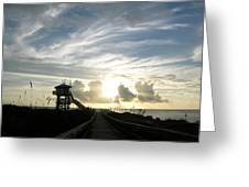 Life Guard Tower And Jetty At Dawn 9-27-14 By Julianne Felton Greeting Card