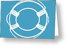 Life Preserver In White And Turquoise Blue Greeting Card