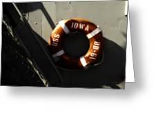 Life Ring Uss Iowa Battleship Sepia Greeting Card