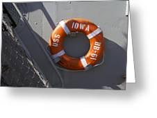 Life Ring Uss Iowa Battleship Greeting Card