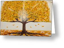 Life Tree-lit Autumn Tree With Yellow Leaves Greeting Card