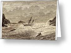 Lifeboat Approaching A Wreck Greeting Card