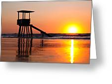 Lifeguard Stand In A Texas Sunrise Greeting Card
