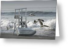 Lifeguard Station With Flying Gulls At A Lake Huron Beach Greeting Card