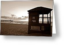 Lifeguard Tower Sunrise In Sepia Greeting Card
