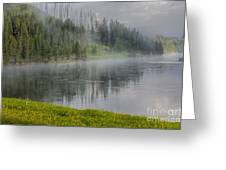 Lifting Fog On The Yellowstone River Greeting Card