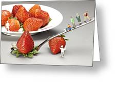 Lifting Strawberry By A Fork Lever Food Physics Greeting Card