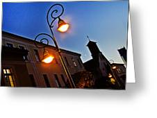 Light And Moon In B.bystrica Greeting Card