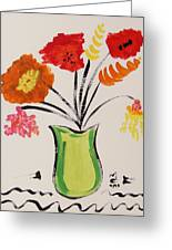 Light Green Vase Greeting Card
