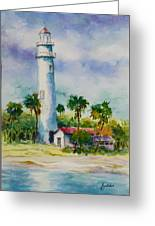 Light House At The Beach Greeting Card