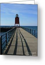 Light House In Charlevoix Mich Greeting Card