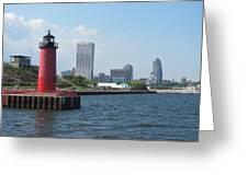 Light House Milwaukee Skyline 1 Greeting Card