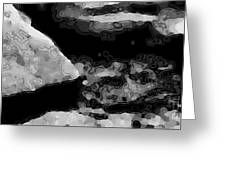 Light In The Stream Bw Greeting Card