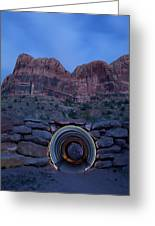 Light Painting Inside A Round Tunnel Greeting Card