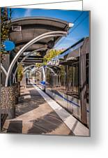 Light Rail Train System In Downtown Charlotte Nc Greeting Card