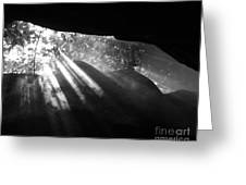 Light Through Mist In Cave Greeting Card