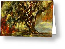 Light Through The Moss Tree Landscape Painting Greeting Card