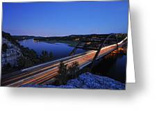 Light Trails At Pennybacker Bridge Greeting Card