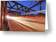 Light Trails On Broadway Bridge Greeting Card