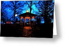 Lighted Gazebo Sunset Park Greeting Card