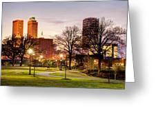 Lighted Walkway To The Tulsa Oklahoma Skyline Greeting Card by Gregory Ballos