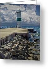 Lighthead At The End Of The Pier In Pentwater Michigan Greeting Card