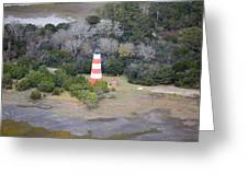 Lighthouse Aerial Near Jekyll Island Greeting Card