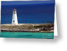 Lighthouse Along Coast Of Paradise Island Bahamas Greeting Card