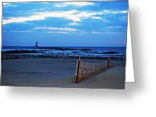 Lighthouse And Beach Greeting Card