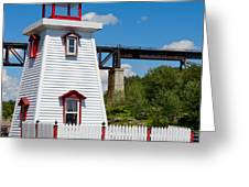 Lighthouse And Bridge Greeting Card
