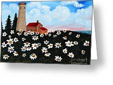 Lighthouse And Daisies Greeting Card