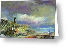 Lighthouse And Fisherman Greeting Card