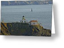 Lighthouse And Sailboat Greeting Card