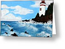 Lighthouse And Sunkers Greeting Card