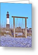 Lighthouse And Swing Greeting Card