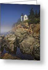 Lighthouse At Bass Harbor Maine Greeting Card