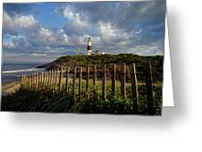 Lighthouse At Montauk With Dramatic Sky Greeting Card