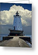 Lighthouse At The End Of The Pier In Ludington Michigan Greeting Card