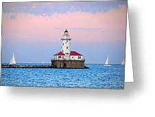 Lighthouse At The Navy Pier Greeting Card