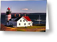 Lighthouse At West Quoddy Head Greeting Card
