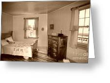 Lighthouse Bedroom In Sepia Greeting Card
