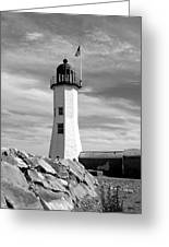 Lighthouse Black And White Greeting Card