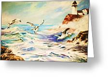 Lighthouse Gulls And Waves Greeting Card